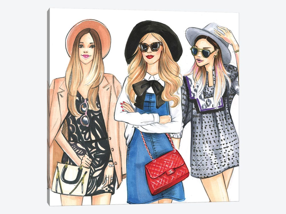 Hat Ladies by Rongrong DeVoe 1-piece Canvas Wall Art