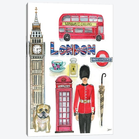 London Artwork Canvas Print #RDE169} by Rongrong DeVoe Canvas Artwork