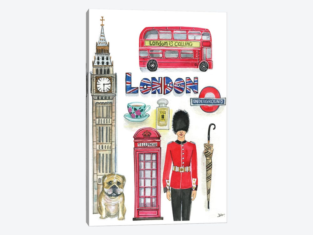 London Artwork by Rongrong DeVoe 1-piece Canvas Wall Art