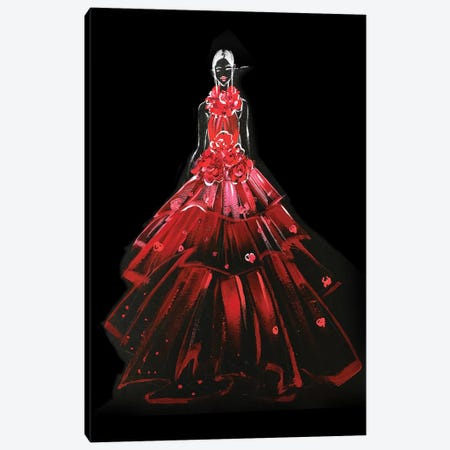 Red Gown Canvas Print #RDE174} by Rongrong DeVoe Canvas Wall Art
