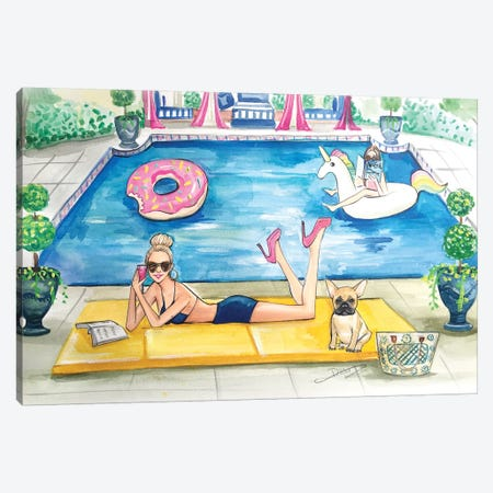 Summer Pool Party Canvas Print #RDE178} by Rongrong DeVoe Canvas Print