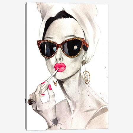 Audrey Hepburn Canvas Print #RDE17} by Rongrong DeVoe Canvas Art Print
