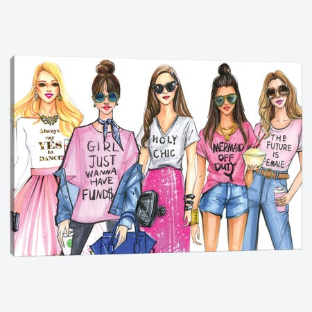 Fashionistas Love PINK Canvas Print #RDE184} by Rongrong DeVoe Canvas Print