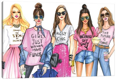 Fashionistas Love PINK Canvas Art Print