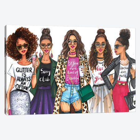 Fashionistas, African American Canvas Print #RDE185} by Rongrong DeVoe Canvas Art Print