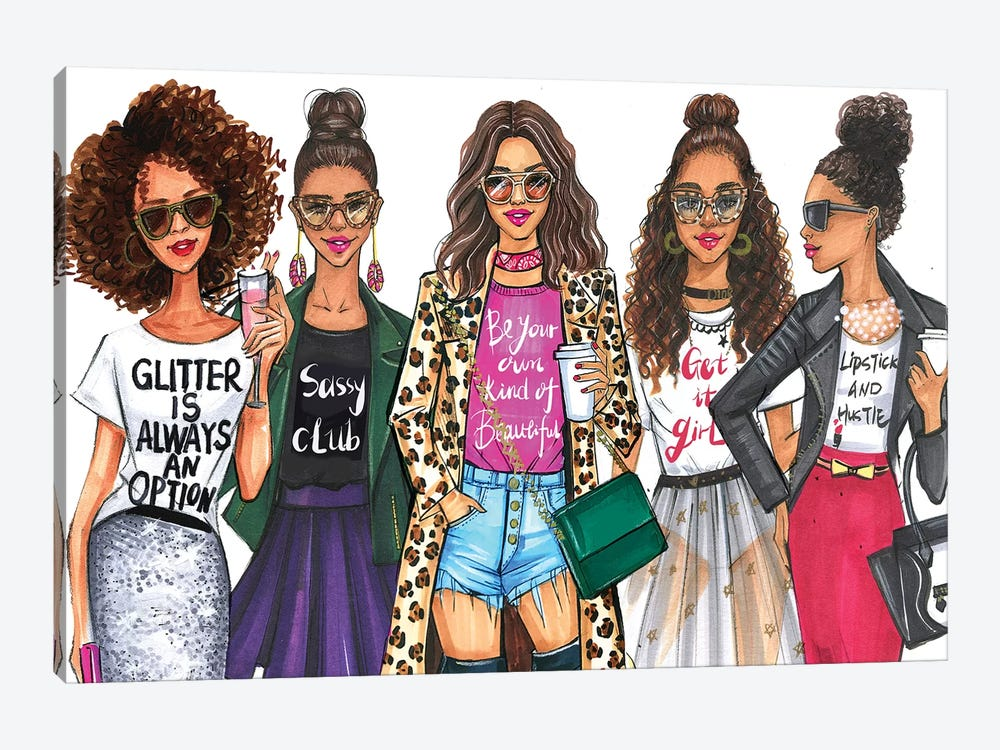 Fashionistas, African American by Rongrong DeVoe 1-piece Canvas Art
