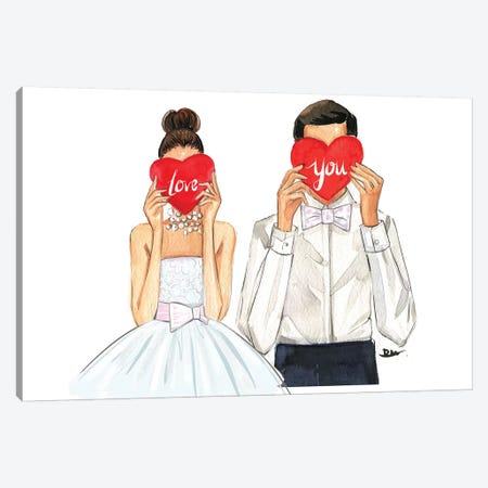 Love You Canvas Print #RDE188} by Rongrong DeVoe Canvas Artwork