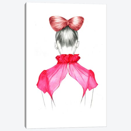 Bow Hair Girl  Canvas Print #RDE18} by Rongrong DeVoe Canvas Artwork