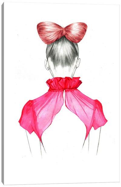 Bow Hair Girl  Canvas Print #RDE18