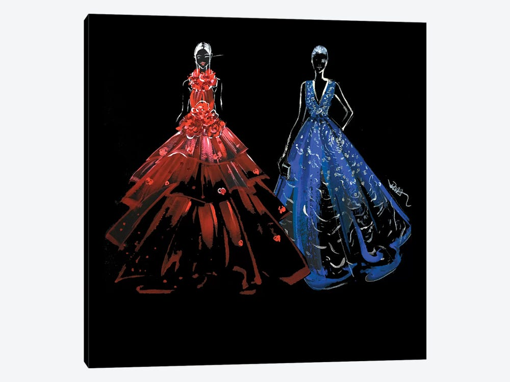Red And Blue Gown by Rongrong DeVoe 1-piece Canvas Art