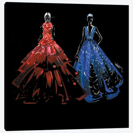 Red And Blue Gown 3-Piece Canvas #RDE192} by Rongrong DeVoe Art Print