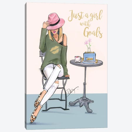 A Girl With Goals 3-Piece Canvas #RDE198} by Rongrong DeVoe Canvas Art Print