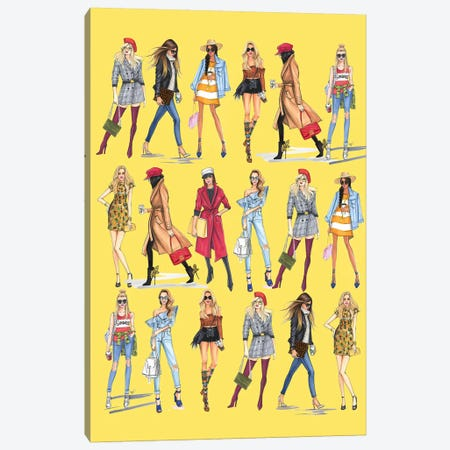 Fashionistas In Line Canvas Print #RDE206} by Rongrong DeVoe Canvas Wall Art