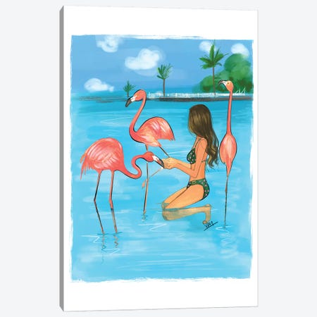 Feeding Flamingos Canvas Print #RDE207} by Rongrong DeVoe Canvas Art