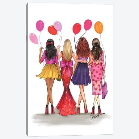 Galentine's Canvas Print #RDE209} by Rongrong DeVoe Canvas Print