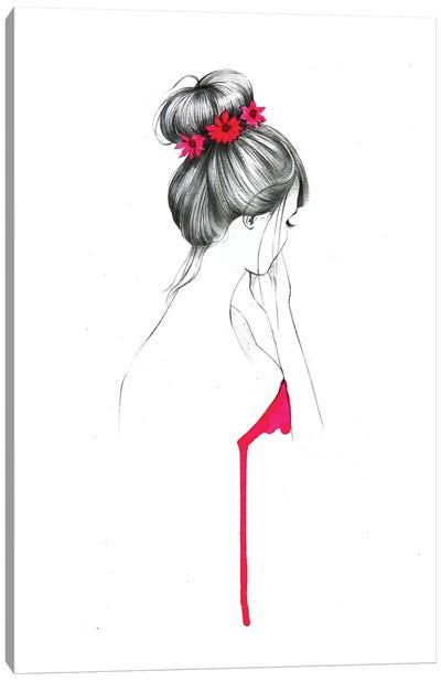 Bun Flower Girl  Canvas Art Print