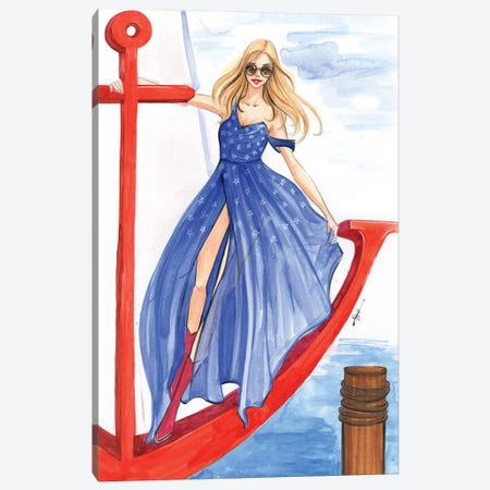 Girl On An Anchor 3-Piece Canvas #RDE210} by Rongrong DeVoe Canvas Wall Art