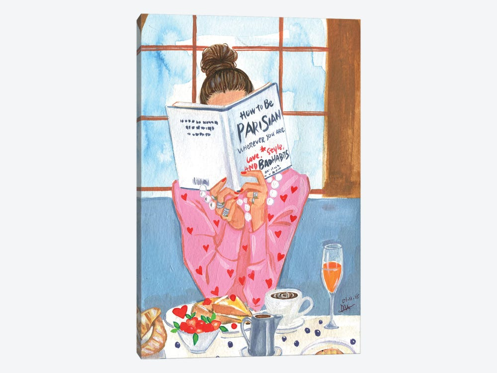 How To Be Parisian - Breakfast Time by Rongrong DeVoe 1-piece Canvas Art Print