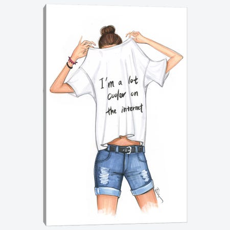 I Am A Lot Cooler On The Internet Canvas Print #RDE214} by Rongrong DeVoe Canvas Art Print