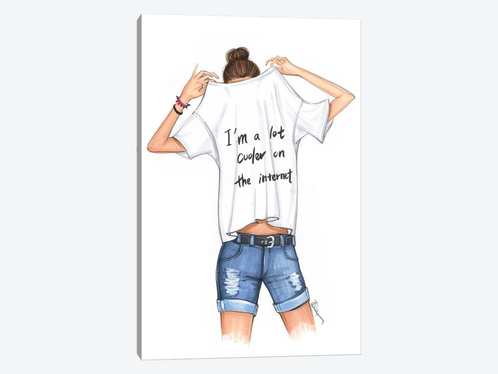 I Am A Lot Cooler On The Internet by Rongrong DeVoe 1-piece Canvas Wall Art