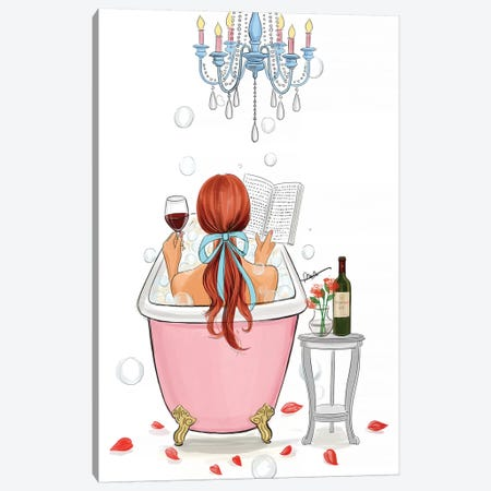Time For Myself-Red Hair Canvas Print #RDE244} by Rongrong DeVoe Canvas Wall Art