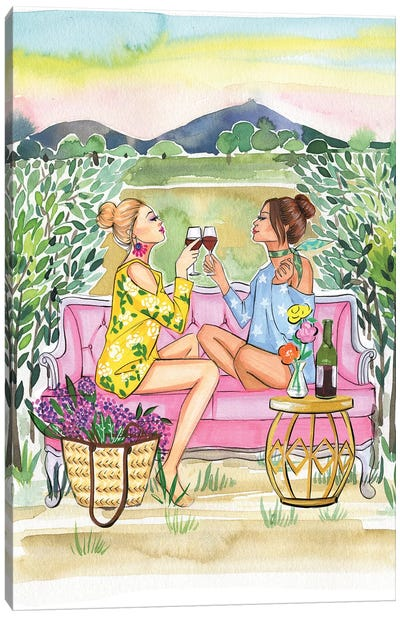 Two Girls Drink Wine Canvas Art Print