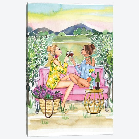 Two Girls Drink Wine Canvas Print #RDE246} by Rongrong DeVoe Canvas Artwork