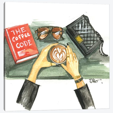 Coffee Flat Lay Canvas Print #RDE252} by Rongrong DeVoe Canvas Art