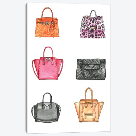 Handbag Collection  Canvas Print #RDE256} by Rongrong DeVoe Art Print