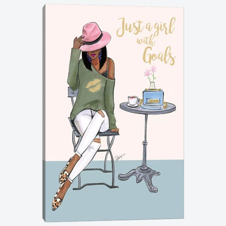 Just A Girl With Goals - Dark Skin Canvas Print #RDE260} by Rongrong DeVoe Art Print