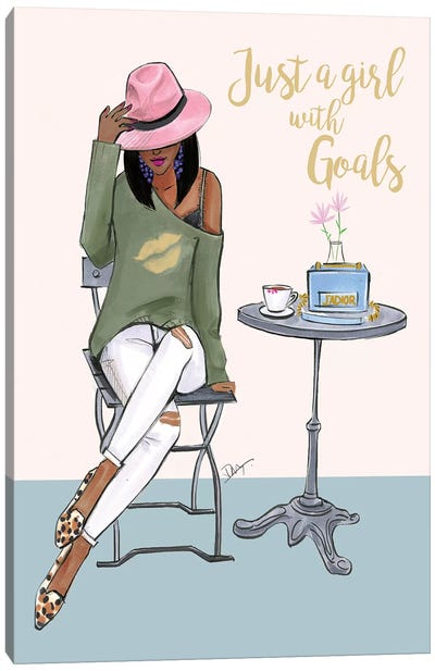 Just A Girl With Goals - Dark Skin by Rongrong DeVoe Canvas Art Print