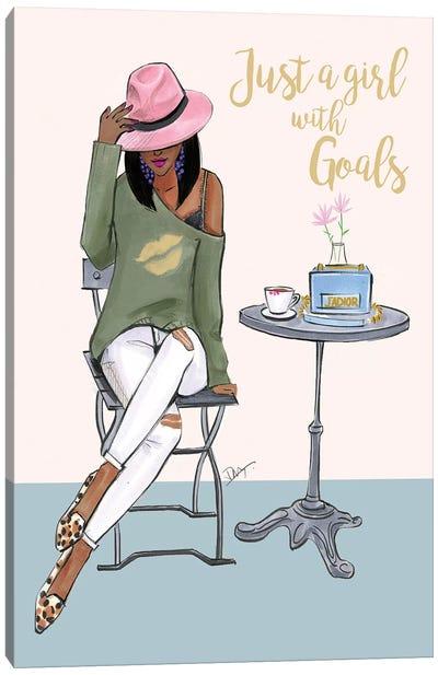 Just A Girl With Goals - Dark Skin Canvas Art Print