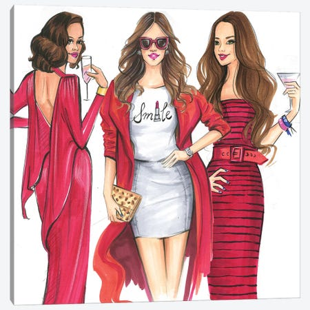 Ladies In Red Canvas Print #RDE261} by Rongrong DeVoe Art Print