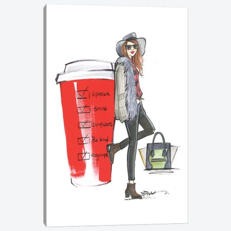 Red Cup Check List Canvas Print #RDE268} by Rongrong DeVoe Canvas Print