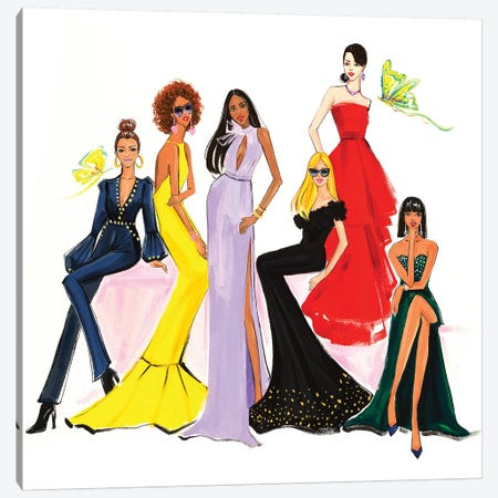 Fashion Ladies 3-Piece Canvas #RDE276} by Rongrong DeVoe Canvas Art Print