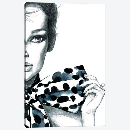 Polka Dots Girl Canvas Print #RDE2} by Rongrong DeVoe Canvas Art