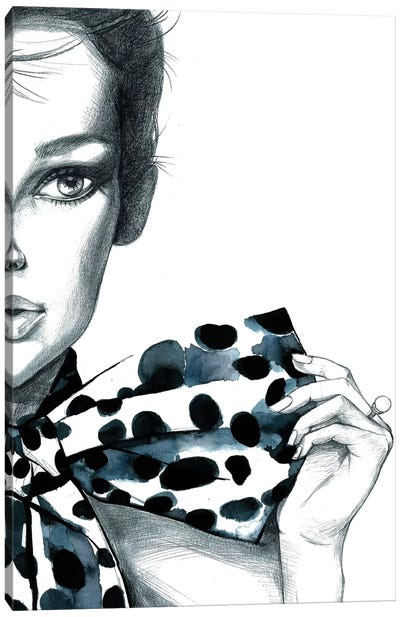 Polka Dots Girl Canvas Art Print