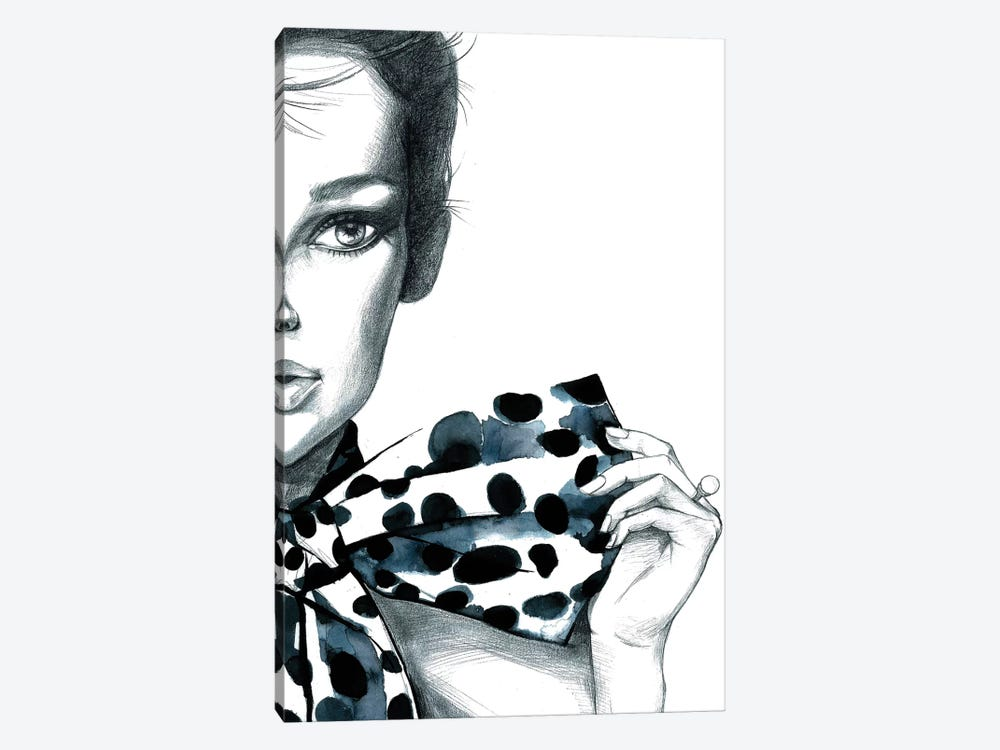 Polka Dots Girl by Rongrong DeVoe 1-piece Art Print