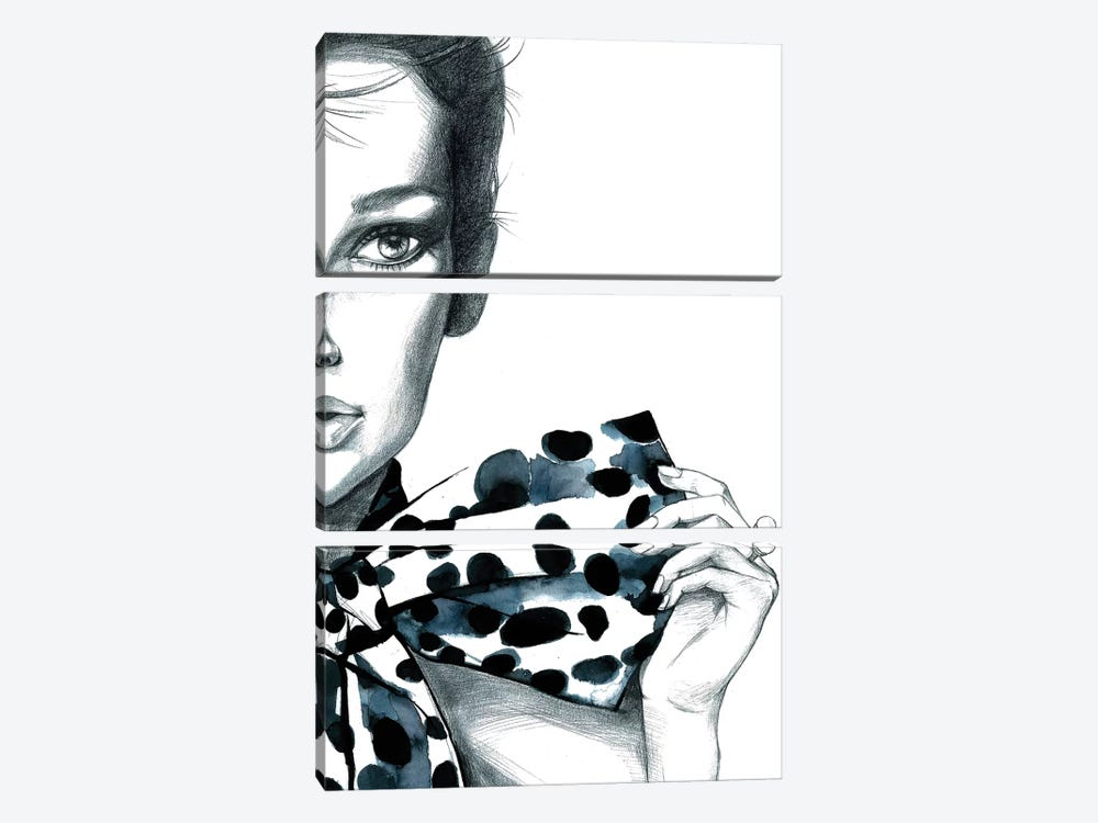 Polka Dots Girl by Rongrong DeVoe 3-piece Art Print