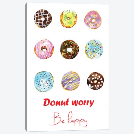 Donut Worry Be Happy Canvas Print #RDE31} by Rongrong DeVoe Canvas Wall Art