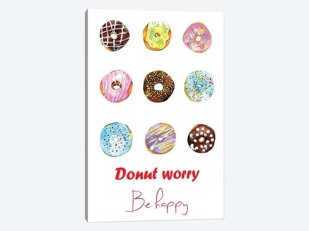 Donut Worry Be Happy by Rongrong DeVoe 1-piece Canvas Art Print