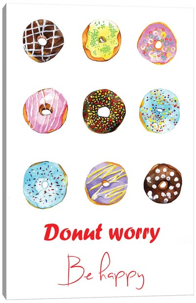 Donut Worry Be Happy Canvas Art Print