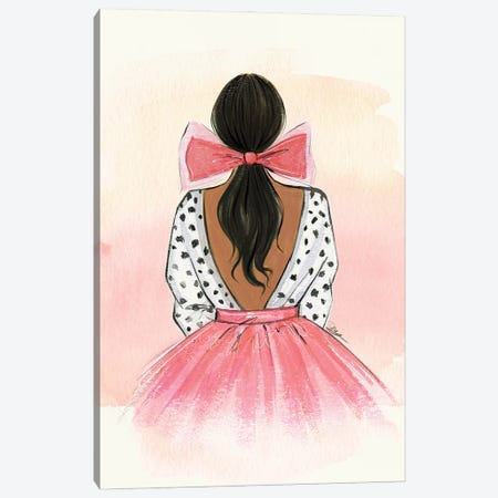 Pink Bow Canvas Print #RDE327} by Rongrong DeVoe Canvas Print