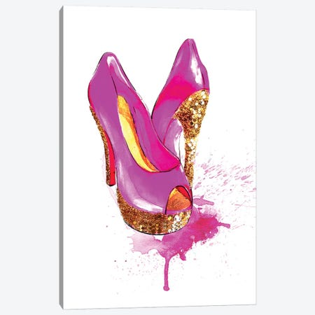 Glitter High Heel Canvas Print #RDE35} by Rongrong DeVoe Canvas Print