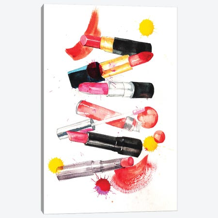 Lipsticks Collection Canvas Print #RDE45} by Rongrong DeVoe Canvas Wall Art
