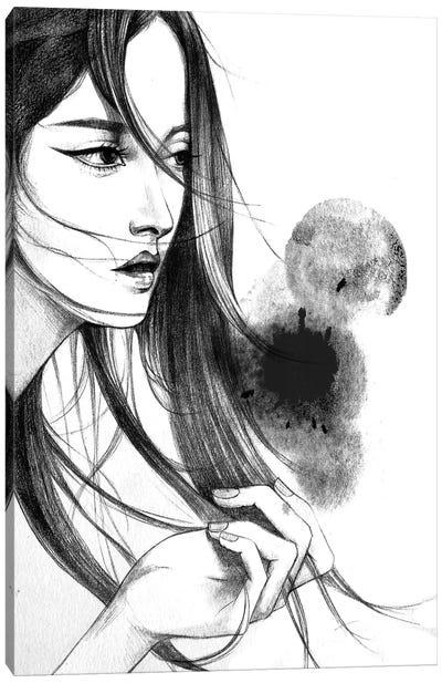 Long Hair Canvas Print #RDE46