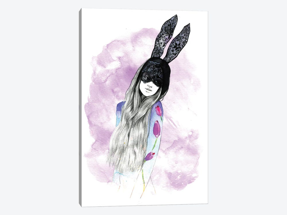 Mask Girl  by Rongrong DeVoe 1-piece Canvas Art