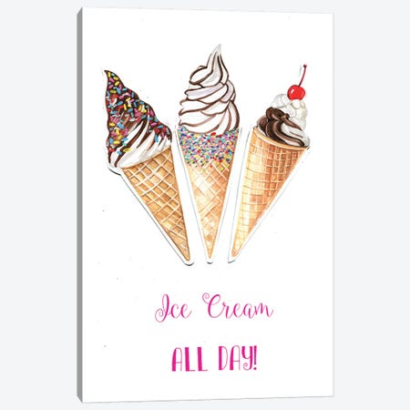 Ice Cream All Day Canvas Print #RDE54} by Rongrong DeVoe Art Print