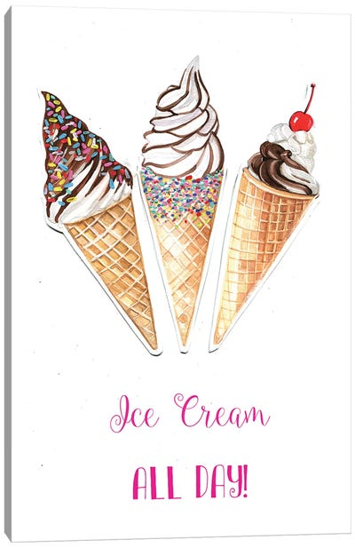 Ice Cream All Day Canvas Print #RDE54