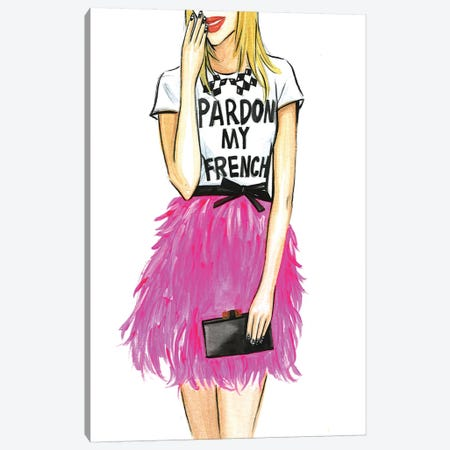 Pardon My French I Canvas Print #RDE55} by Rongrong DeVoe Canvas Art Print